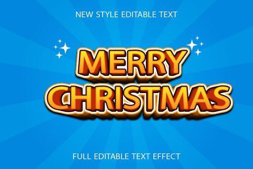Merry christmas 3d text effect vector
