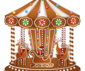 Merry-go-round christmas gingerbreads making vector