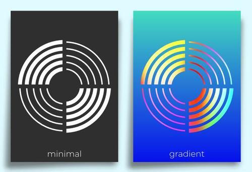 Minimal geometric poster design vector