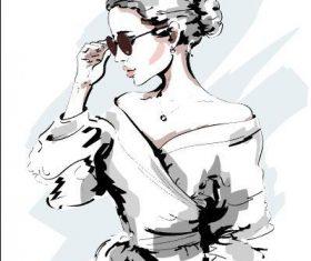 Modern female watercolor illustration vector