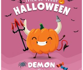 Monster pumpkin halloween poster design vector