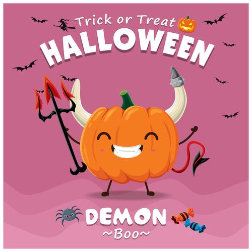 Monster pumpkin halloween poster design vector