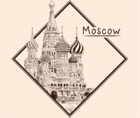 Moscow architectural sketch vector