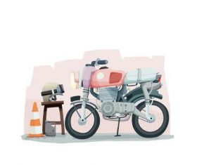 Motorcycle cartoon illustration vector