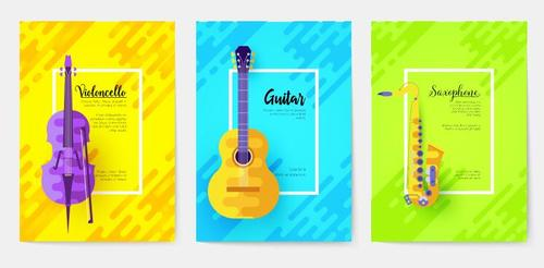 Musical instruments banner vector