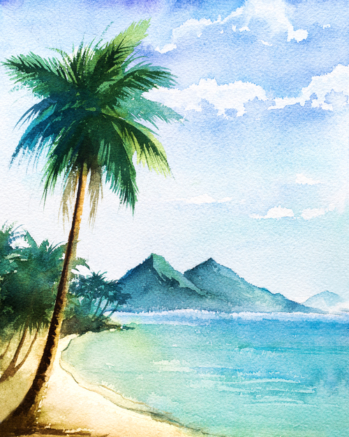 Natural scenery watercolor illustrations vector