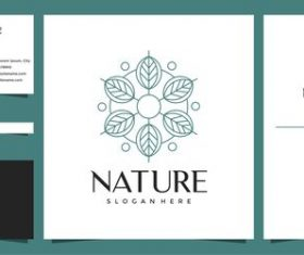Nature hand drawn logo design vector