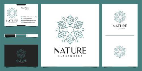 Nature hand drawn logo design vector