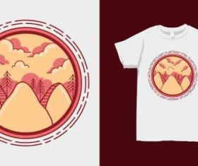 Nature landscape T-shirt merchandise print vector