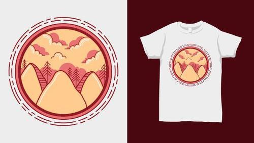 Nature landscape T shirt merchandise print vector
