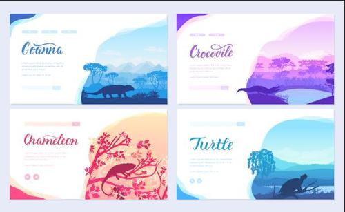 Nature wild animals colorful cards banner vector