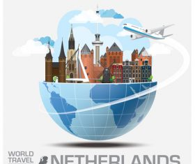 Netherlands famous tourist attractions concept vector