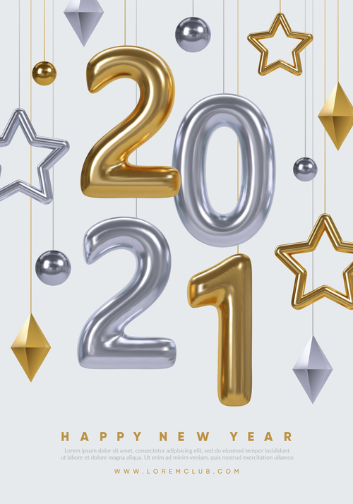 New year poster vector winter holidays background design