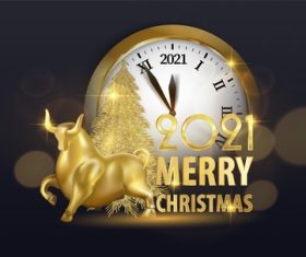 New year time and golden bull vector