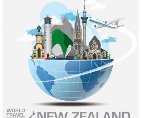 New zealand famous tourist attractions concept vector