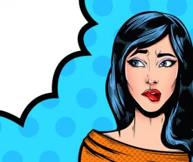 Nice girl Pop art illustration with speech forms vector