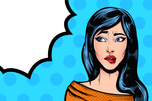 Nice girl Pop art illustration with speech forms vector