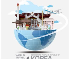 North Korea famous tourist attractions concept vector
