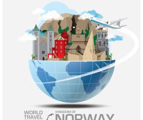 Norway famous tourist attractions concept vector