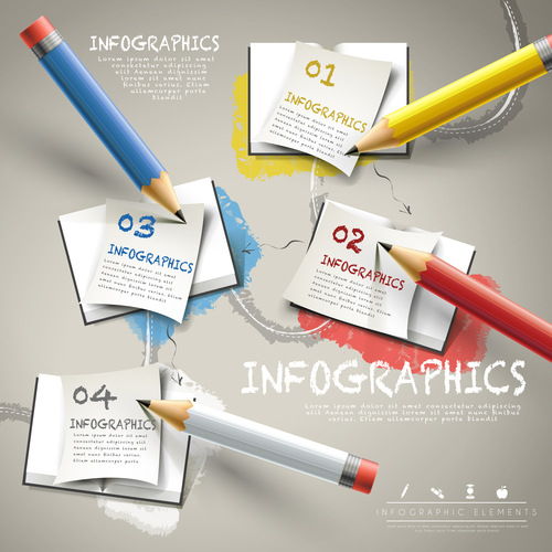 Note paper infographic options vector