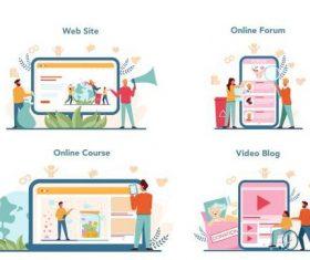 Online course cartoon illustration vector