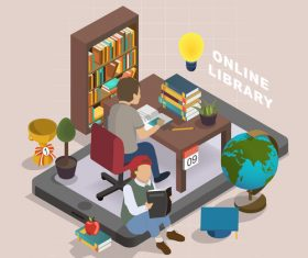 Online library concept vector