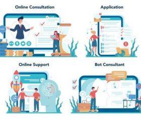 Online support cartoon illustration vector