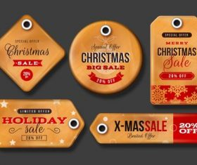 Orange Christmas label vector