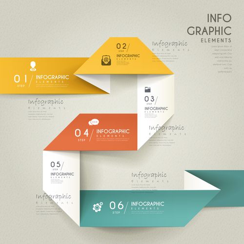 Origami infographic element options vector