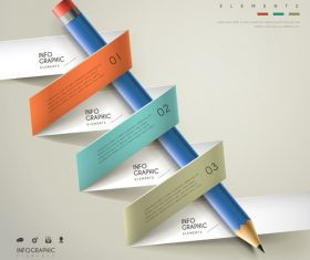 Origami infographic options vector around pencil