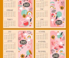 Painted calendar new year 2021 decorative design vector