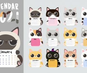 Painted cat calendar vector
