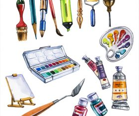 Palette and other tools watercolor illustrations vector