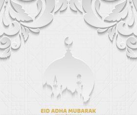 Paper cut Eid ADHA mubarak greeting card vector