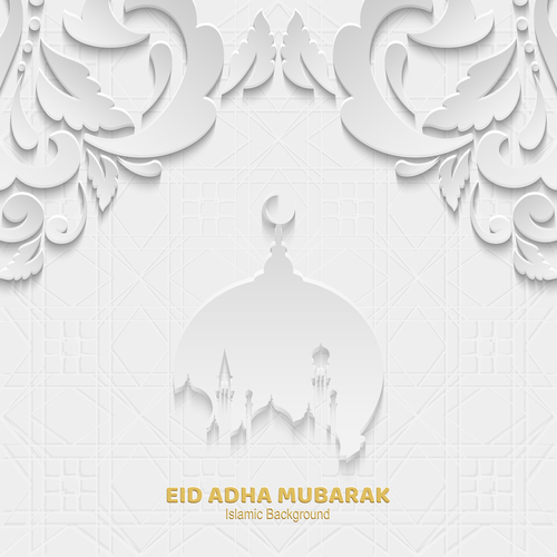 Paper cut Eid ADHA mubarak greeting card vector