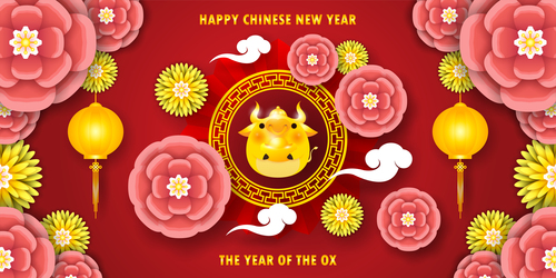 Paper cut flowers new year card vector