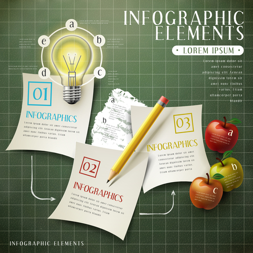 Paper infographic options vector