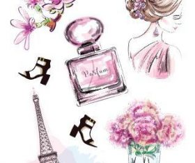 Parisian womens fashion elements watercolor illustration vector
