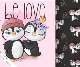 Penguin couple cartoon seamless background vector