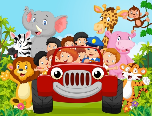 People and animals live in harmony cartoon vector