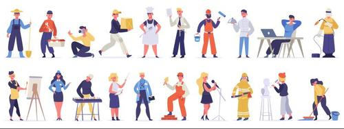 People of different professions cartoon illustration vector
