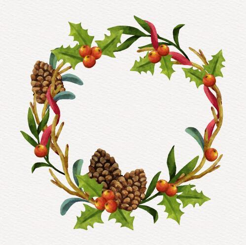 Pine cones and berries decoration christmas wreath vector