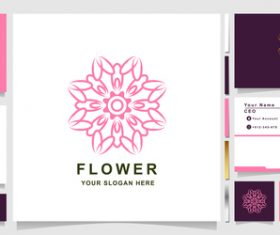 Pink flower cover company logo design vector