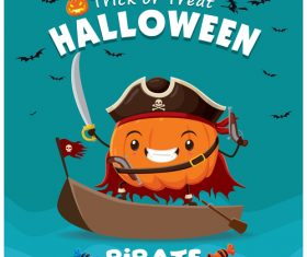 Pirate Pumpkin halloween poster design vector