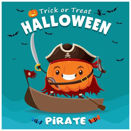 Pirate Pumpkin halloween poster design vector