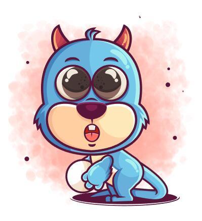 Playing ball animal cartoon icon vector