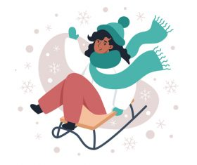 Playing sled girl illustration vector