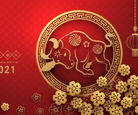 Plum blossom gold bull new years card vector