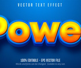 Poewr yellow editable font effect vector