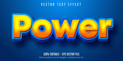 Poewr yellow editable font effect vector